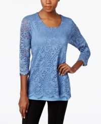 Jm Collection Lace Three Quarter Sleeve Top Only At Macy's Quiet Harbor