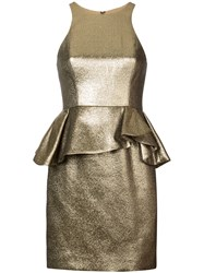 Halston Heritage Peplum Waist Dress Gold