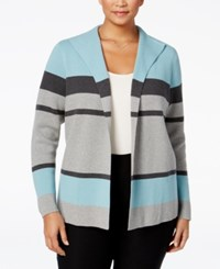 Charter Club Plus Size Striped Cardigan Only At Macy's Dusted Aqua Combo
