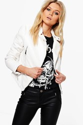 Boohoo Keira Quilted Sleeve Faux Leather Biker Jacket White