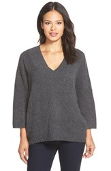 Women's White Warren Plush Cashmere V Neck Sweater Charcoal Heather