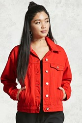 Forever 21 Snap Button Denim Jacket Red