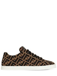 Fendi Ff All Over Cotton Low Top Sneakers Tobacco
