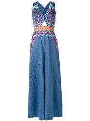 Temperley London Embroidered Jumpsuit Women Cotton Linen Flax Spandex Elastane Wool 10 Blue