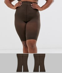 Asos Design Curve Anti Chafing Shorts 2 Pack In Umber Brown