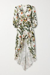 Patbo Belted Layered Printed Voile Playsuit Ecru