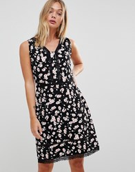 Trollied Dolly Floral Dress With Lace Trim Black