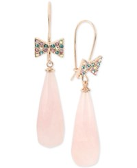 Betsey Johnson Rose Gold Tone Bow Tie And Large Stone Drop Earrings Multi