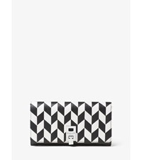Miranda Applique Leather Continental Wallet Black White
