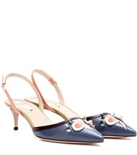Fendi Slingback Leather Pumps Blue