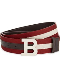 Bally B Buckle Leather And Canvas Reversible Belt Red Bally Beige