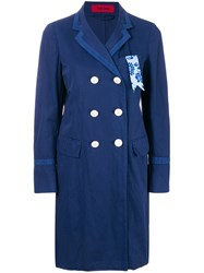 The Gigi Double Breasted Straight Coat Blue