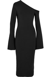 Solace London Aida One Shoulder Ribbed Stretch Knit Midi Dress Black