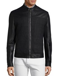 Versace Woven Lambskin Leather Jacket Black