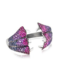 Bernard Delettrez Carnivorous Flower W Sapphires And Amethysts Gold Pave Ring Silver