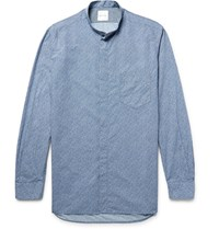Paul Smith Grandad Collar Floral Print Cotton Poplin Shirt Blue