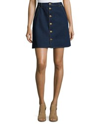 The Fifth Label Downtown Button Front Denim Skirt Dark Blue