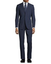 Neiman Marcus Two Button Tonal Windowpane Two Piece Suit Navy