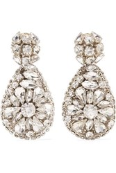 Oscar De La Renta Silver Tone Crystal Clip Earrings One Size