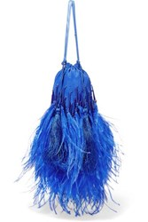 Attico Feather Trimmed Beaded Silk Pouch Blue