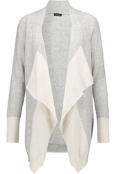 Splendid Two Tone Draped Cashmere Cardigan Light Gray