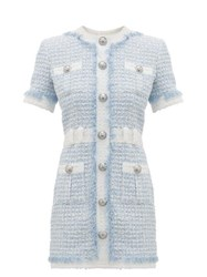 Balmain Buttoned Sequin Embroidered Tweed Mini Dress Blue White