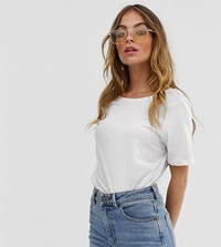 Noisy May Petite Dring Short Sleeve Cropped T Shirt White