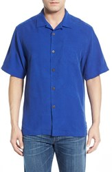 Men's Big And Tall Tommy Bahama 'Rio Fronds' Short Sleeve Silk Sport Shirt Mazarine Blue