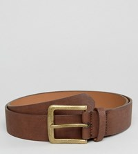 Asos Plus Wide Belt In Brown Faux Leather With Vintage Gold Buckle Brown