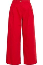 Valentino Pleated High Rise Wide Leg Jeans Red