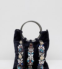 Accessorize Izabella Embellished Ring Handle Velvet Pouch Navy