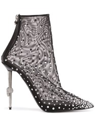 Philipp Plein Crystal Embellished Mesh Ankle Boots Black