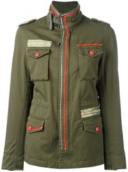 History Repeats Embellished Military Jacket Green
