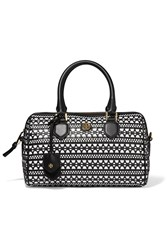 Tory Burch Robinson Two Tone Woven Leather Tote Black