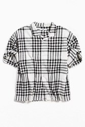 Urban Outfitters Uo Checked Relaxed Half Sleeve Dad Button Down Shirt White