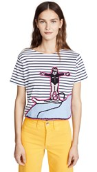Michaela Buerger Cropped Surfing Tee Blue White