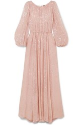 Adam By Adam Lippes Sequined Chiffon Gown Pastel Pink