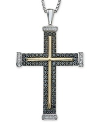 Macy's Men's Diamond Two Tone Cross Pendant Necklace 1 Ct. T.W. In Sterling Silver And 10K Gold Black