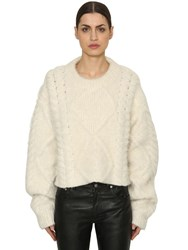 Maison Martin Margiela Cropped Alpaca Blend Cable Knit Sweater White