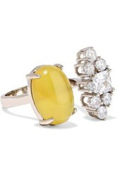 Iosselliani Woman Gold Tone Crystal And Stone Ring Yellow