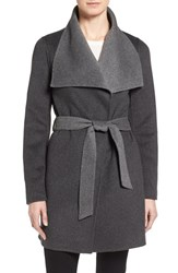 T Tahari Petite Women's 'Ella' Belted Two Tone Double Face Wool Blend Wrap Coat Charcoal Grey