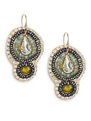 Eva Hanusova Crystal 2Mm Grey Button Freshwater Pearl And Mixed Stone Tulipa Drop Earrings Goldtone Green