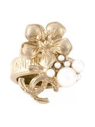 Chanel Vintage Floral Logo Ring Metallic