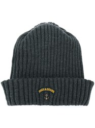 Paul And Shark Logo Patch Beanie Hat Grey