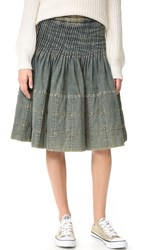 Wgaca Chanel Pleated Denim Skirt Previously Owned Blue