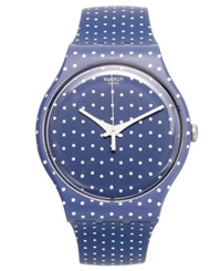 Swatch Unisex Swiss For The Love Of K White Polka Dot Blue Silicone Strap Watch 41Mm Suon106