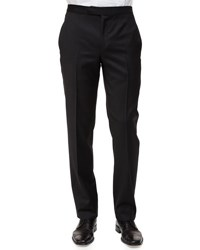 Ermenegildo Zegna Satin Taped Formal Wool Trousers Black