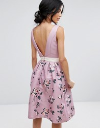 Chi Chi London 2 In 1 Floral Midi Dress With Low Back Multi