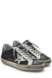 Golden Goose Super Star Denim And Leather Sneakers Multicolor
