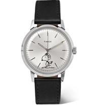 Timex Peanuts Marlin Automatic Stainless Steel And Leather Watch Silver